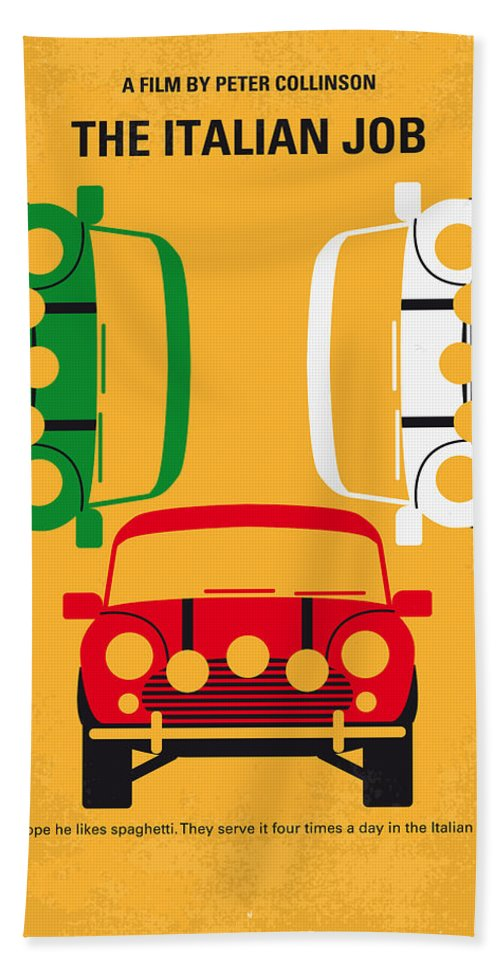 The Bath Towel featuring the digital art No279 My The Italian Job Minimal Movie Poster by Chungkong Art