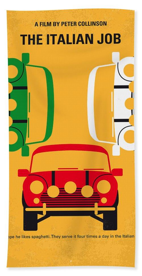 The Bath Towel featuring the digital art No279 My The Italian Job minimal movie poster by Chungkong Art
