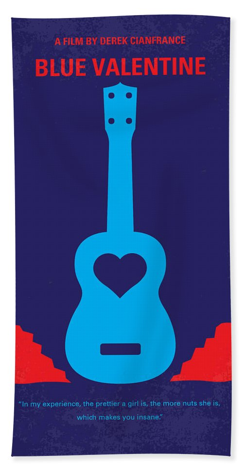 Blue Hand Towel featuring the digital art No379 My Blue Valentine Minimal Movie Poster by Chungkong Art