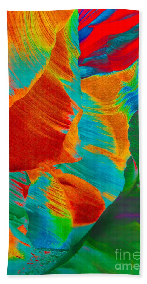 Noam An Abstract Photograph Of Lower Antelope Canyon Hand Towel featuring the photograph Noam by Mae Wertz