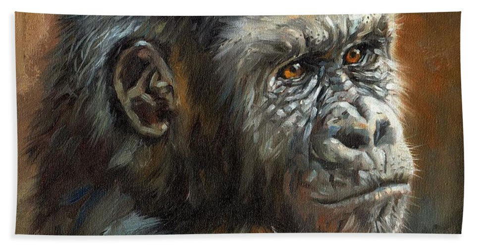 Gorilla Bath Sheet featuring the painting Noble Ape by David Stribbling