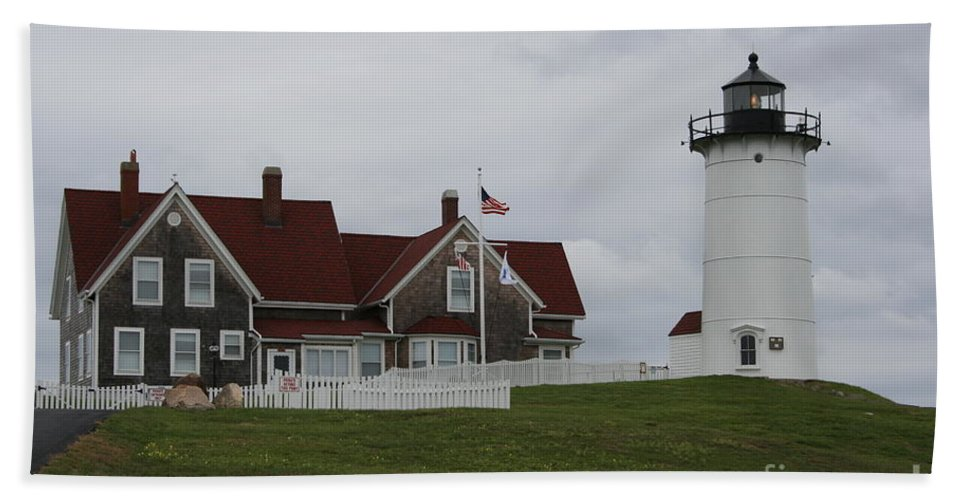 Lighthouse Hand Towel featuring the photograph Nobska Point Light by Christiane Schulze Art And Photography