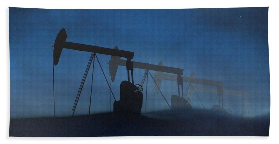 Night Sky Stars Mist Dunes Pump Oil Industry Landscape Petrol Bp Esso Shell Blue Rig Bath Sheet featuring the painting Nocturnal Donkeys by Guy Pettingell