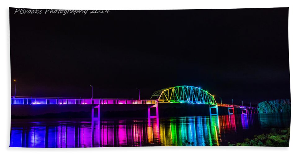 Bridge Bath Sheet featuring the photograph Norbert F. Beckey Bridge In Rainbow Lighting by Paul Brooks