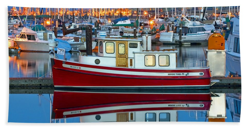 Anacortes Hand Towel featuring the photograph Nordic Tug by Mark Kiver