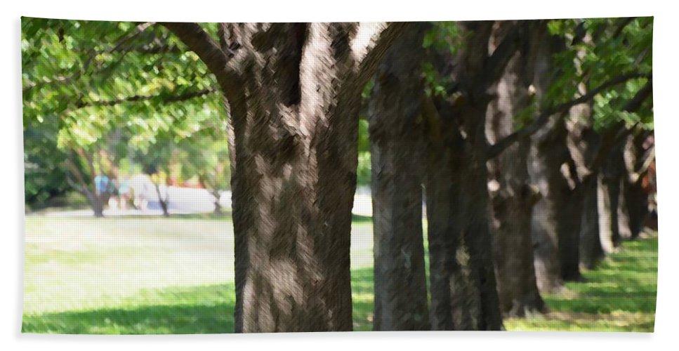 Favorite Spot In The Gardens Bath Sheet featuring the painting Norfolk Botanical Garden 4 by Jeelan Clark