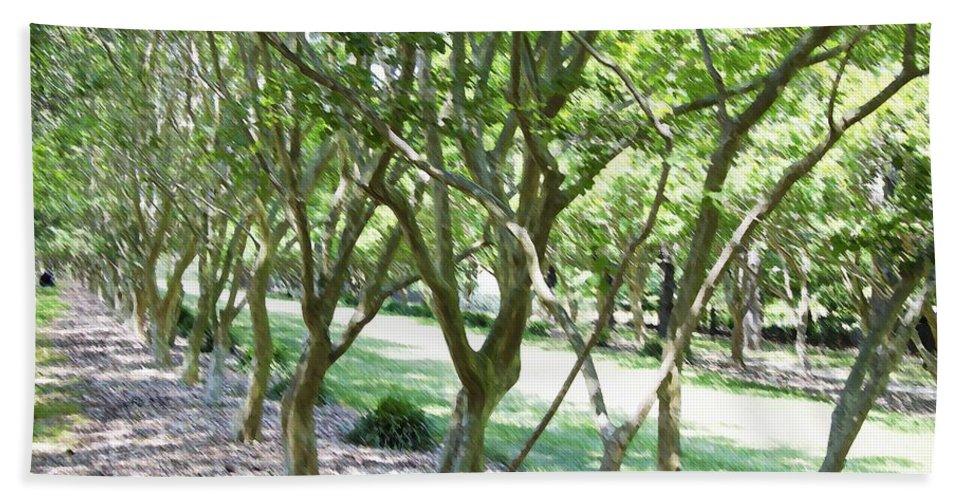 Favorite Spot In The Gardens Bath Sheet featuring the painting Norfolk Botanical Garden 7 by Jeelan Clark