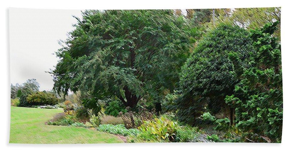 Arboretum Hand Towel featuring the painting Norfolk Botanical Gardens 10 by Jeelan Clark