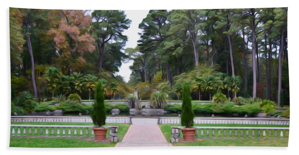 Fonatine Hand Towel featuring the painting Norfolk Botanical Gardens 5 by Jeelan Clark