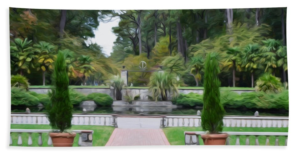 Fonatine Hand Towel featuring the painting Norfolk Botanical Gardens 6 by Jeelan Clark