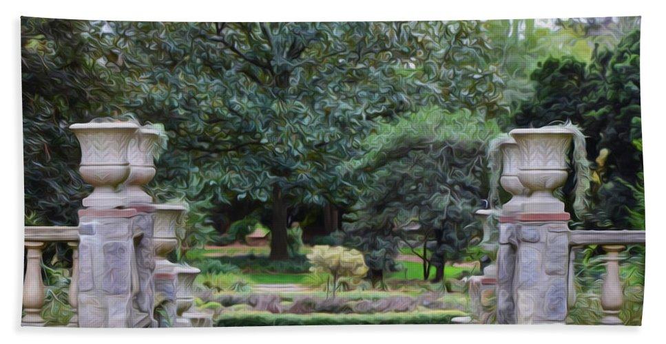 Arboretum Hand Towel featuring the painting Norfolk Botanical Gardens 7 by Jeelan Clark