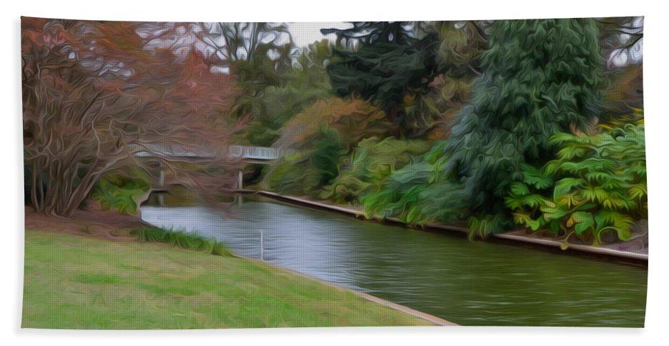 Norfolk Botanical Gardens Canal Hand Towel featuring the painting Norfolk Botanical Gardens Canal 3 by Jeelan Clark