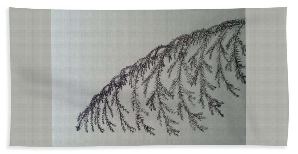 Branch Bath Sheet featuring the drawing Norfolk Pine by Kimberly Vital