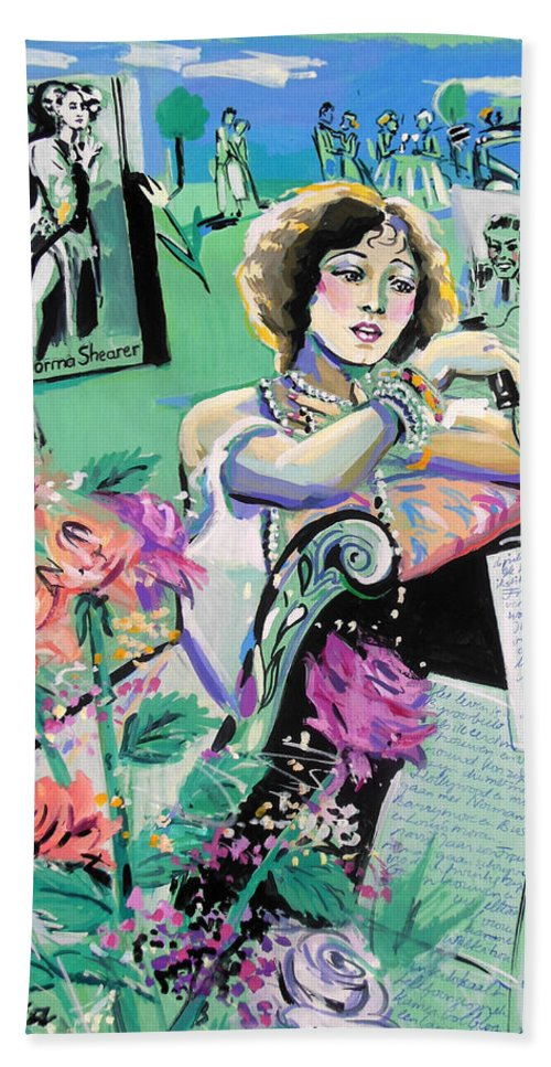 Norma Shearer Bath Sheet featuring the painting Norma Shearer by Lucia Hoogervorst