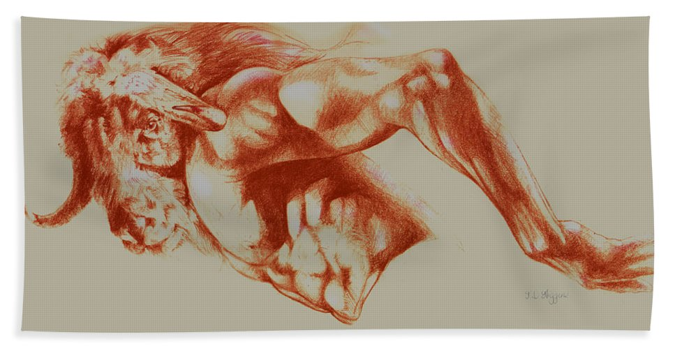 Nude Hand Towel featuring the drawing North American Minotaur Red Sketch by Derrick Higgins