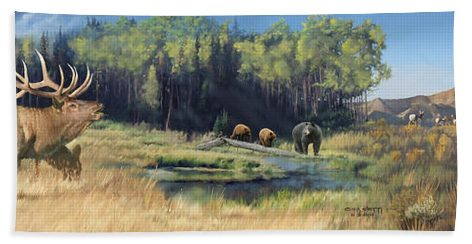 Wall Art Bath Sheet featuring the painting North American Waterhole by Rob Corsetti
