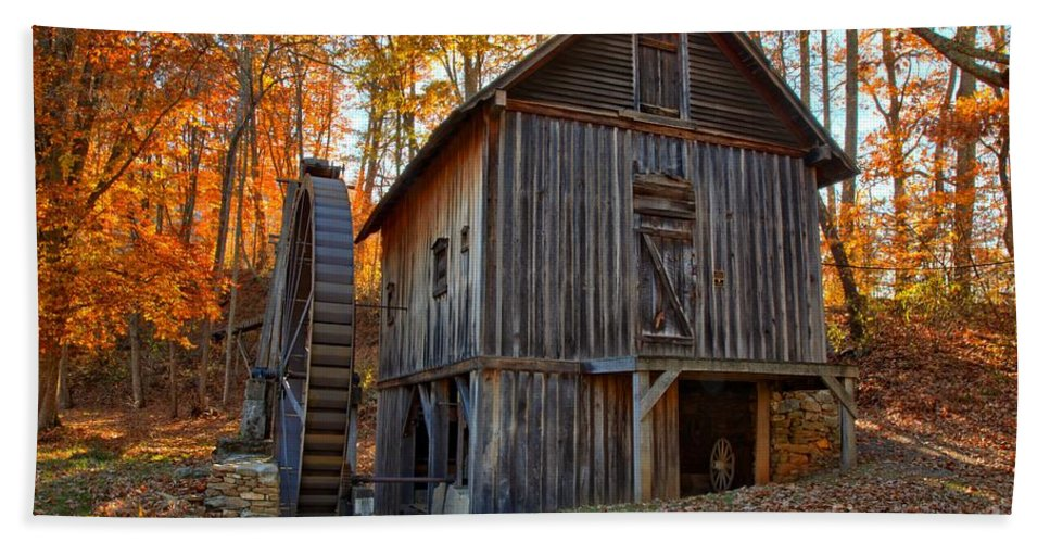 Grist Mill Bath Sheet featuring the photograph North Carolina Grist Mill Photo by Adam Jewell