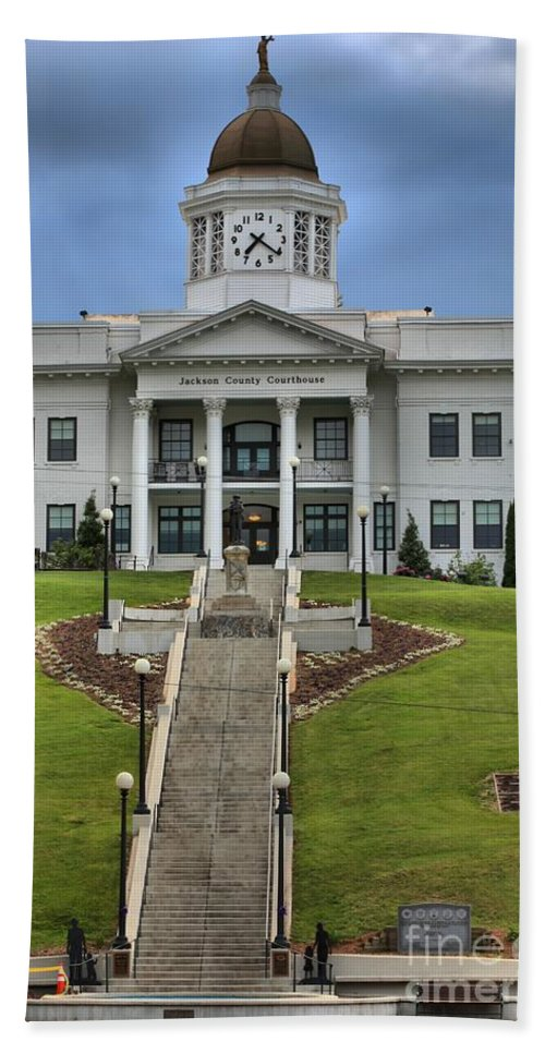 Jackson County Courthouse Hand Towel featuring the photograph North Carolina Jackson County Courthouse by Adam Jewell