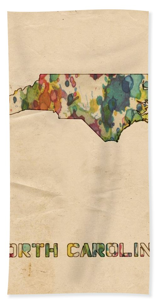 North Carolina Hand Towel featuring the painting North Carolina Map Vintage Watercolor by Florian Rodarte