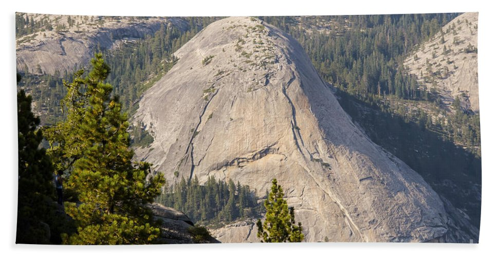 North Dome Domes Peak Peaks Mountain Mountains Tree Trees Forest Forests Landscape Landscapes Yosemite National Park California Parks Bath Sheet featuring the photograph North Dome by Bob Phillips