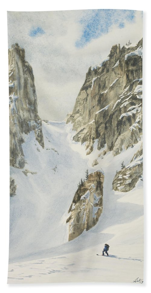 Skiing Hand Towel featuring the painting North by Link Jackson