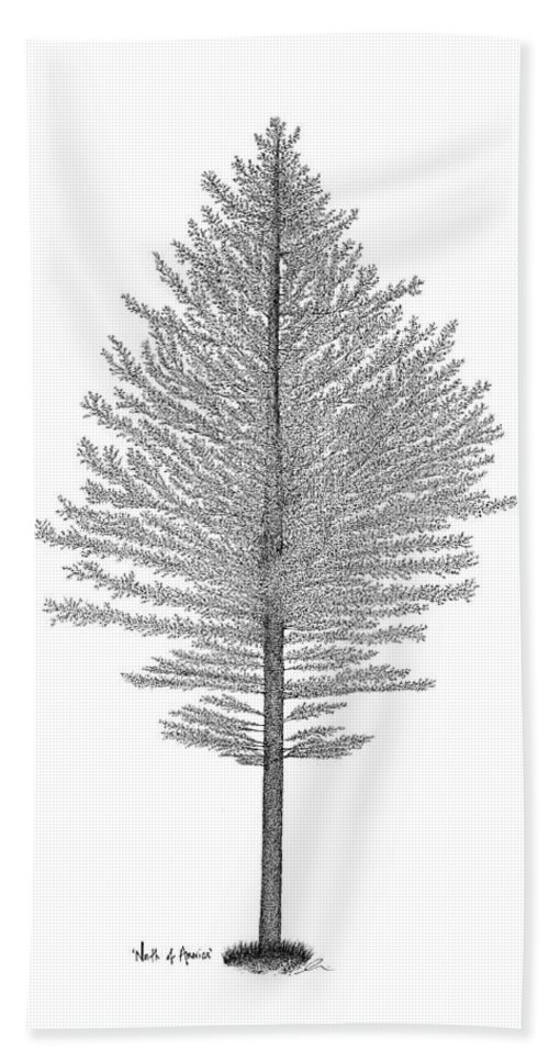 Tree Bath Sheet featuring the drawing North Of America by Andrea Currie