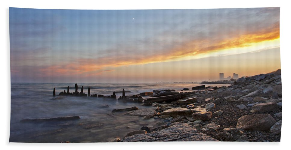 Www.cjschmit.com Hand Towel featuring the photograph North Point Sunset by CJ Schmit
