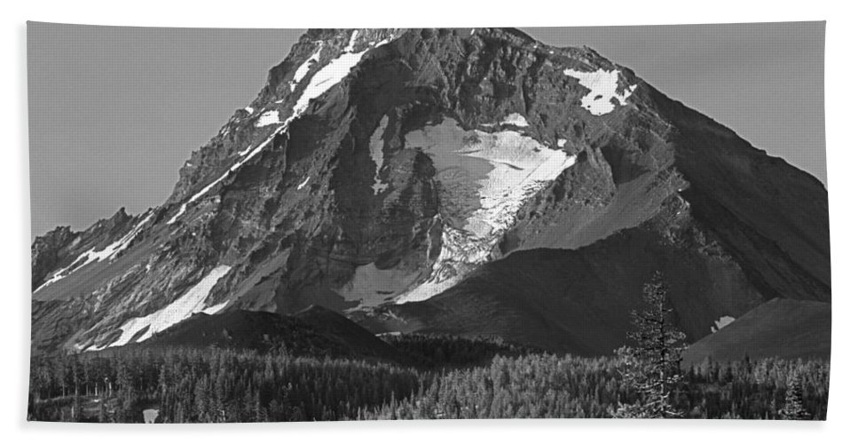 North Sister Bath Sheet featuring the photograph 105615-north Sister Or,bw by Ed Cooper Photography