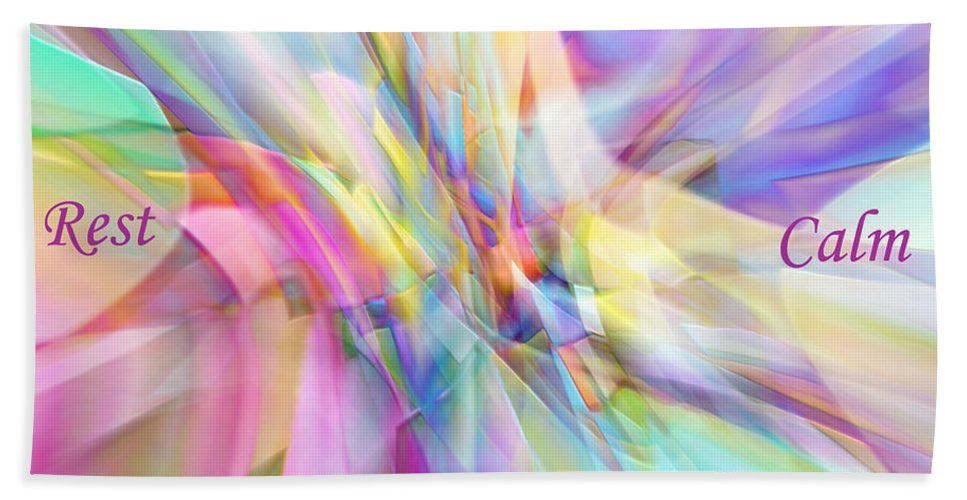 Abstract Bath Sheet featuring the digital art North South East West by Margie Chapman