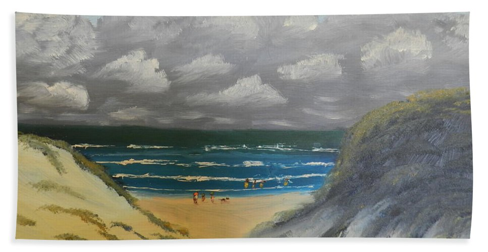 Impressionism Hand Towel featuring the painting North Windang Beach by Pamela Meredith