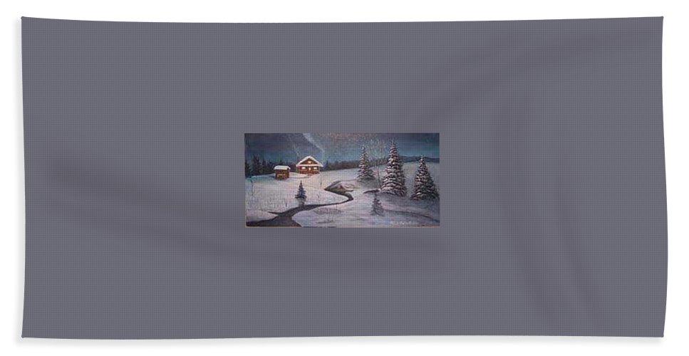 Rick Huotari Bath Sheet featuring the painting North Woods Cabin by Rick Huotari