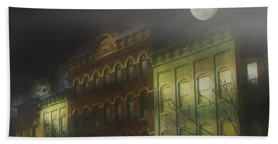 Cityscape Bath Towel featuring the painting Northampton By Moonlight by RC DeWinter