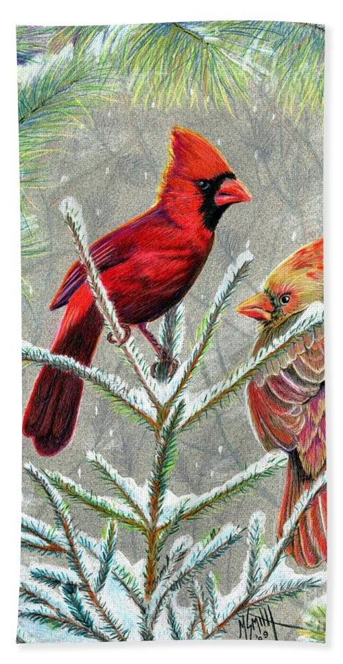 Red Birds Bath Sheet featuring the drawing Northern Cardinals by Marilyn Smith