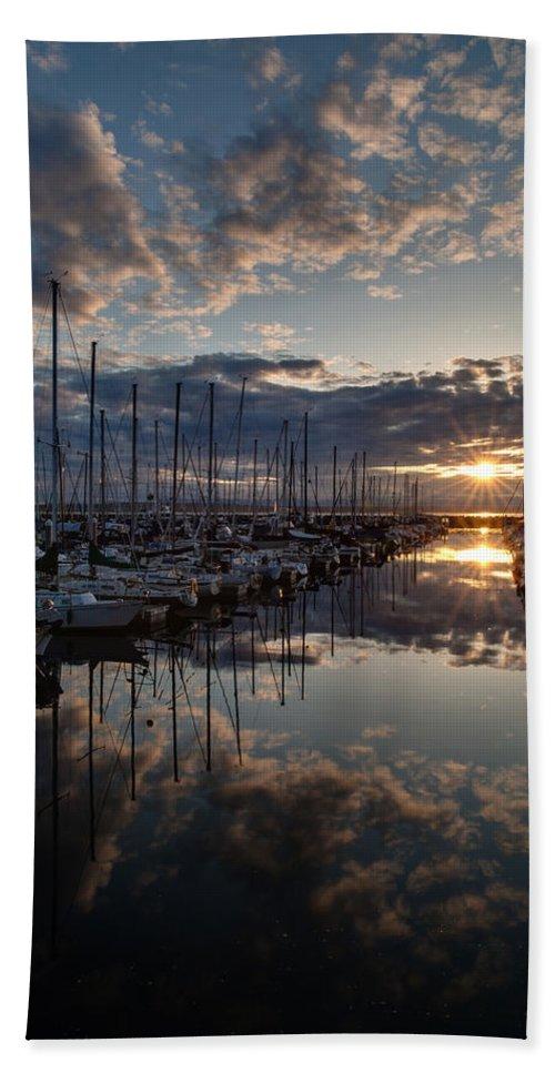 Shilshole Bath Sheet featuring the photograph Northwest Sunset Marina by Mike Reid