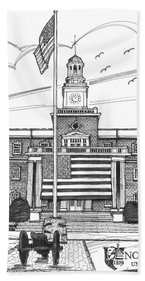 Norwich University Bath Sheet featuring the drawing Norwich University Jackman Hall by Richard Wambach