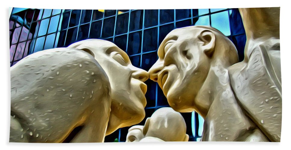 Montreal Statues Noses Bath Sheet featuring the photograph Nose To Nose In Montreal by Alice Gipson