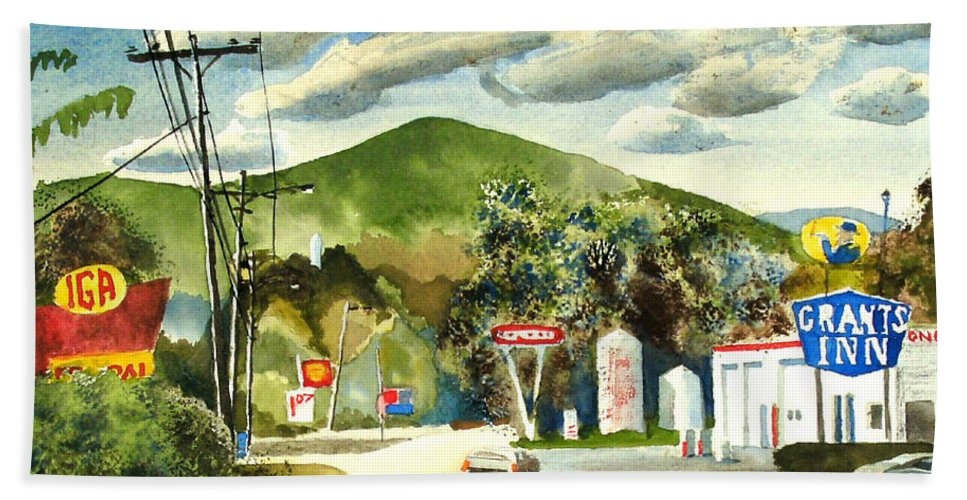Nostalgia Arcadia Valley 1985 Hand Towel featuring the painting Nostalgia Arcadia Valley 1985 by Kip DeVore