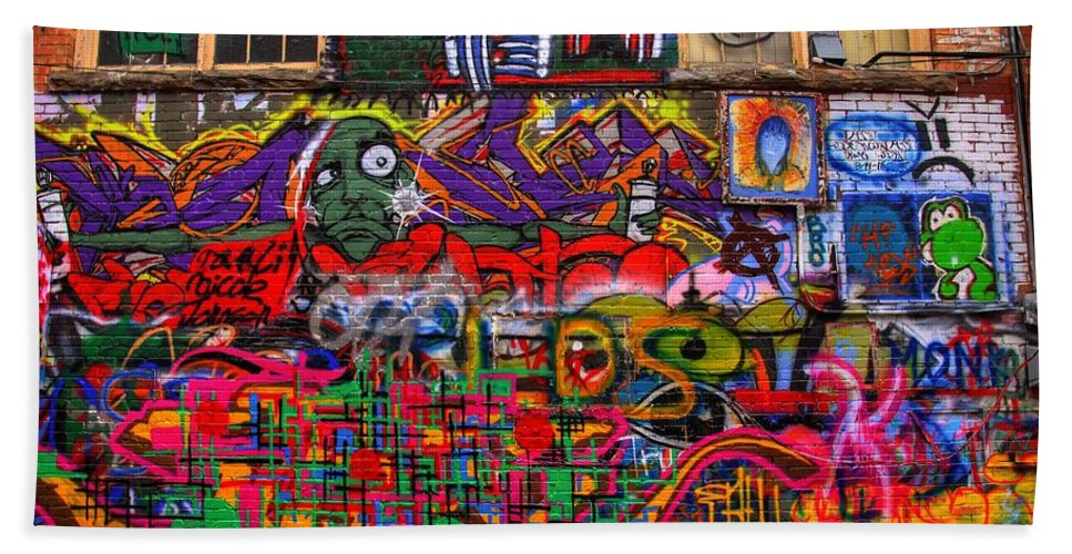 Graffiti Bath Sheet featuring the photograph Not So Private Property by Anthony Wilkening