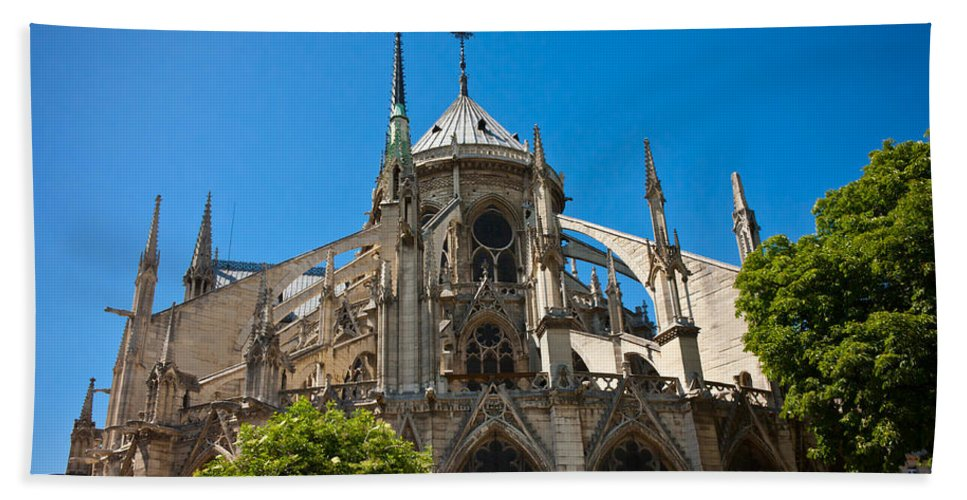 Notre Dame Hand Towel featuring the photograph Notre Dame Cathedral by Anthony Doudt