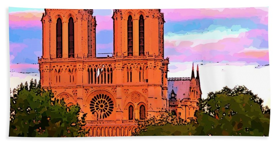 Notre Dame Cathedral Poster Hand Towel featuring the photograph Notre Dame Cathedral Poster by John Malone