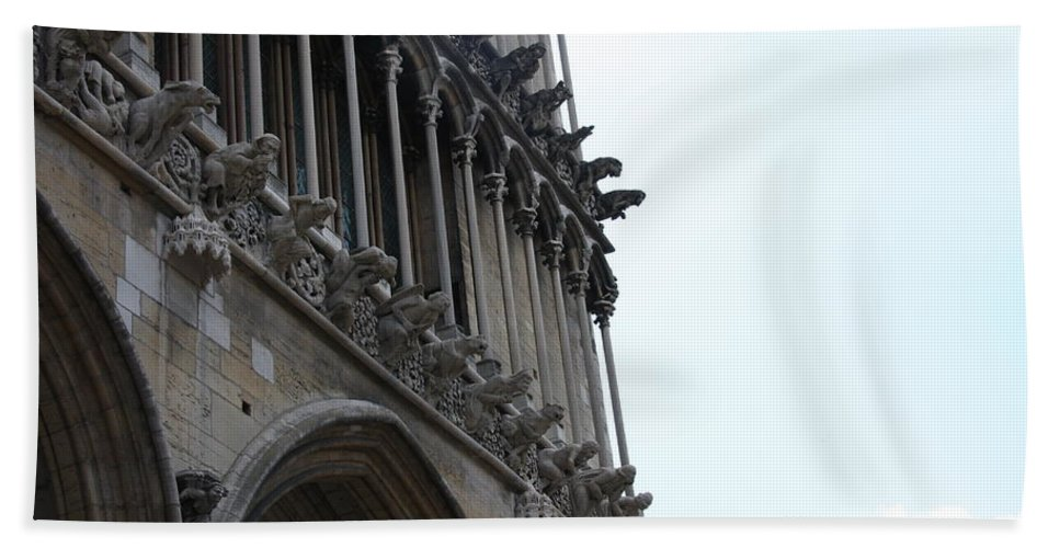 Facade Bath Sheet featuring the photograph Notre Dame Gargoyle Row - Dijon by Christiane Schulze Art And Photography