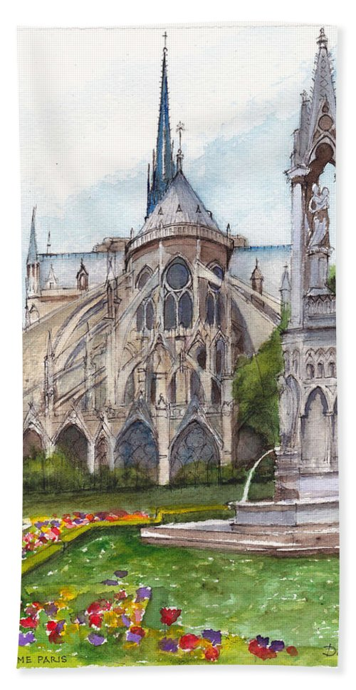 France Bath Sheet featuring the painting Notre Dame Paris In Spring by Dai Wynn