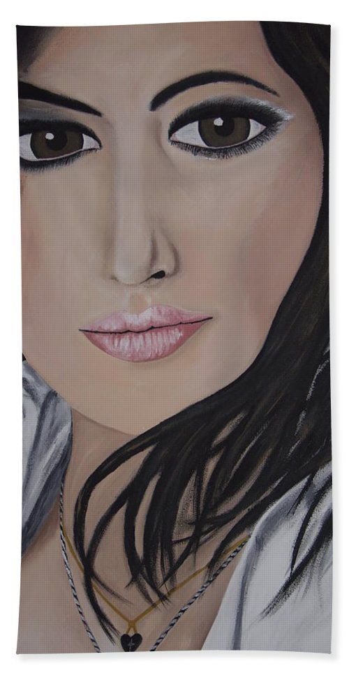Actress Bath Towel featuring the painting Noureen Dewulf by Dean Stephens