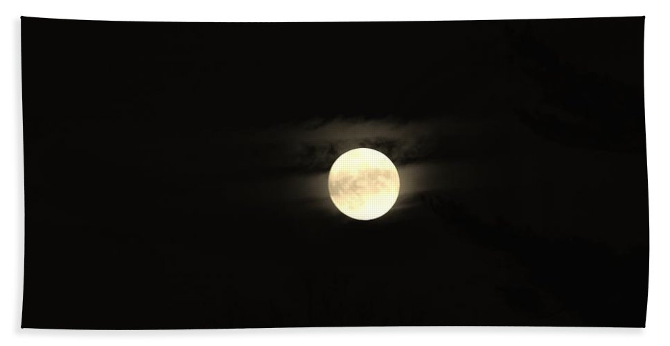 Moon Hand Towel featuring the photograph November Moon by Thomas Phillips