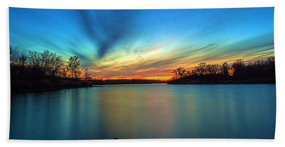 Hdr Hand Towel featuring the photograph November Sunset by Thomas Sellberg