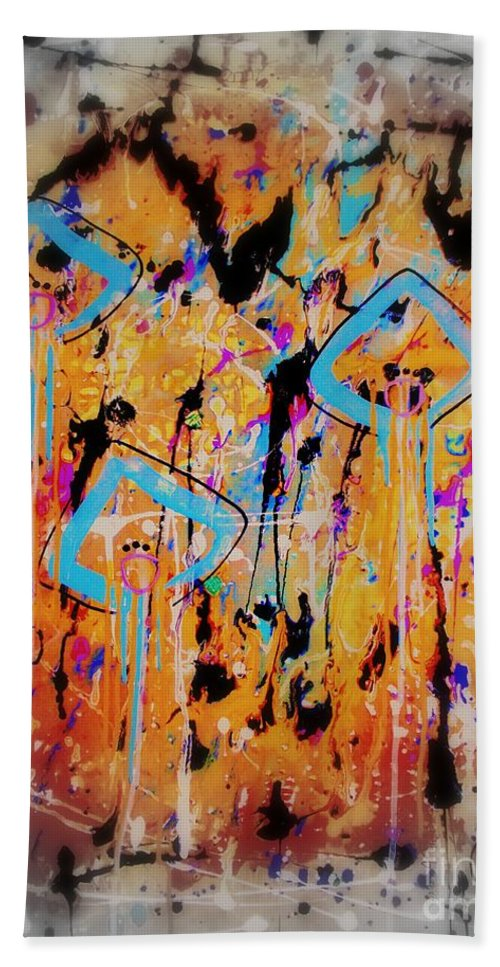 Abstract Painting Hand Towel featuring the painting Nr. 7 by Annabella Rharbaoui