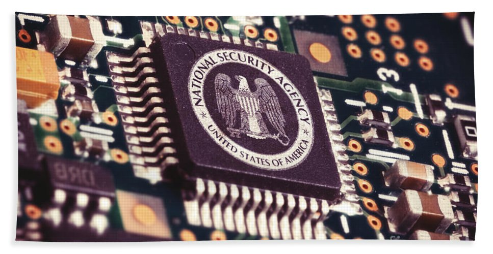 Information Bath Sheet featuring the photograph Nsa Computer Chip by Carsten Reisinger