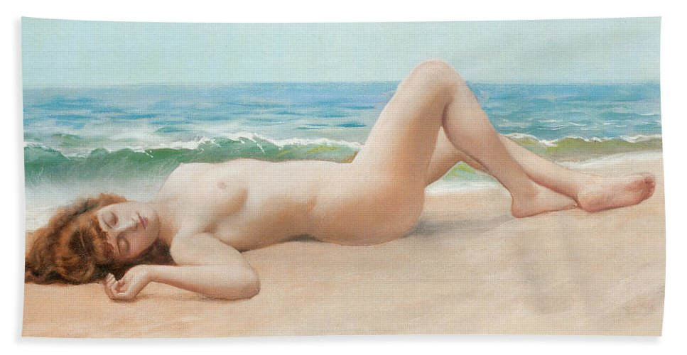 Nu Sur La Plage Bath Sheet featuring the digital art Nu Sur La Plage by John William Godward