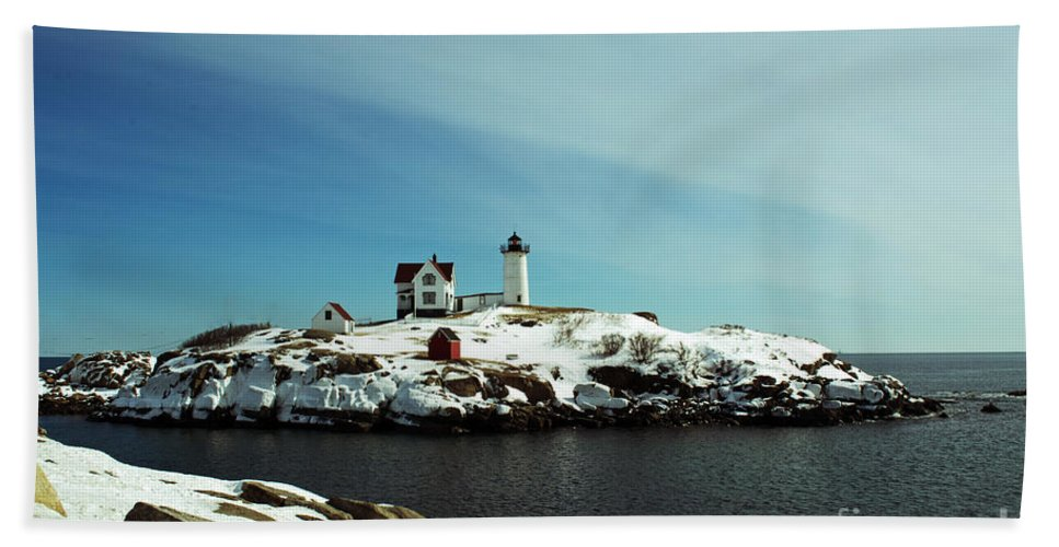 Nubble Bath Sheet featuring the photograph Nubble Lighthouse 3 by Kevin Fortier