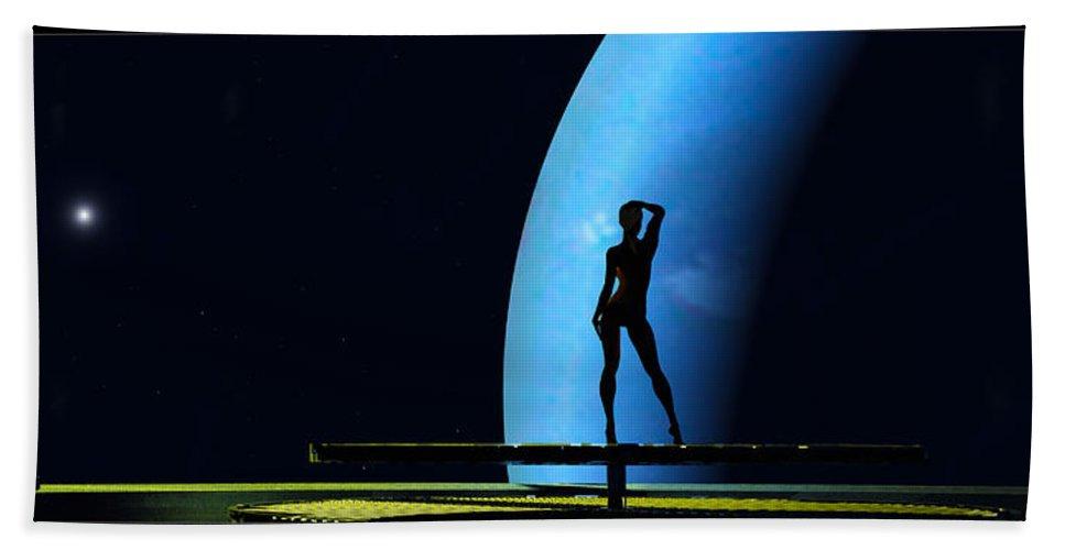 Scifi Bath Sheet featuring the digital art Nude Amongst The Stars... by Tim Fillingim